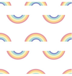 white pattern with coloured rainbows vector image