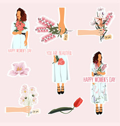 womens day 8 march elements set with flowers vector image