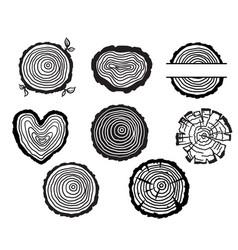 wood tree rings black graphic vector image