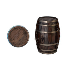 wooden barrel for wine or other drinks from vector image