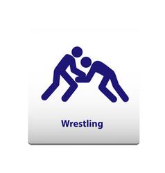 wrestling sport symbol stickman solid icon vector image