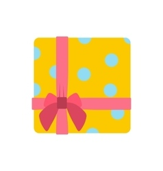 Yellow gift box with pink ribbon icon vector image