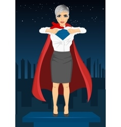 Young businesswoman dressed like super hero vector image
