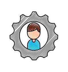 cartoon boy character business gear team work vector image