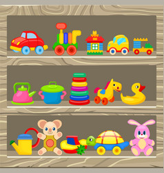 colorful childrens toys stand on wooden shelf vector image vector image