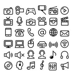 communication media modern technology line icons vector image vector image