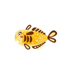 cute yellow fish hand drawn vector image