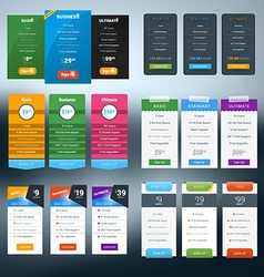 Set of Pricing Table in Flat Design Style for vector image vector image
