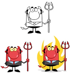 Smiling Devil Boss With A Trident Collection vector image vector image