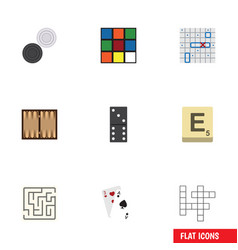 flat icon play set of ace labyrinth chequer and vector image vector image