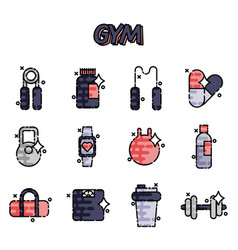 gym flat concept icons vector image