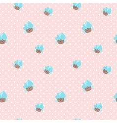 kawaii cupcakes seamless pattern Pink and vector image vector image