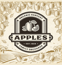 retro apples label on harvest landscape vector image