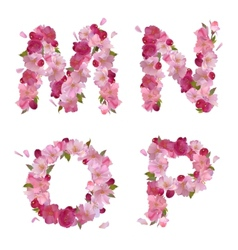 Spring alphabet with cherry flowers MNOP vector image