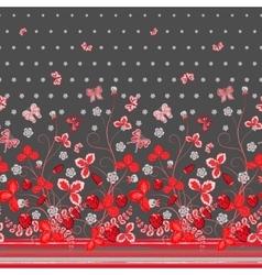 Vertical seamless spring dark gray floral pattern vector