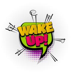 wake up comic book text pop art vector image