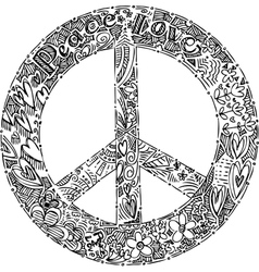 Black and white PEACE symbol vector image vector image