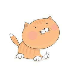 Cute redhead kitten cat cartoon character vector