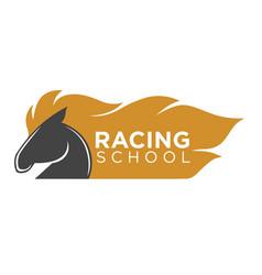 horse racing school logo label with animal vector image vector image