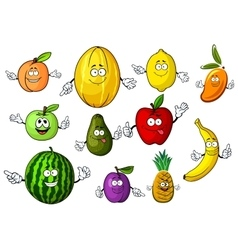 Cartoon funny garden and tropical fruits vector image