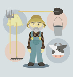 farmer isolated vector image vector image