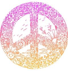 Pink PEACE symbol sketched doodles vector image vector image
