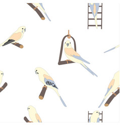 seamless hand drawn pattern with beautiful birds vector image