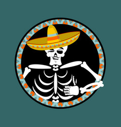 skeletons and sombrero day of the dead vector image vector image