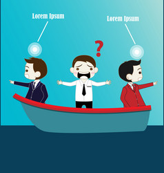 Two Businessman with conflict thinking on boat vector image