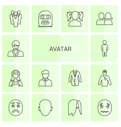 14 avatar icons vector image