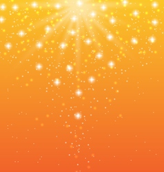 Abstract orange background with sun rays and shiny vector