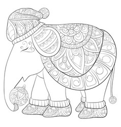 adult coloring bookpage a cute elephant wearing a vector image