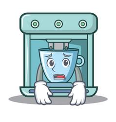 afraid coffee maker character cartoon vector image