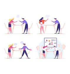 angry business characters quarrel and fight vector image