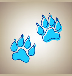 Animal tracks sign sky blue icon with vector