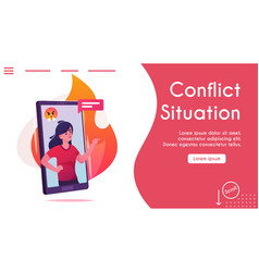Banner aggressive woman comment online chat vector