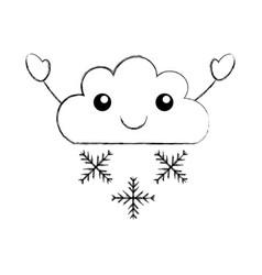 Beautiful fantasy cloud with snowflakes kawaii vector