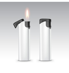 Black White Plastic Lighters with Flame vector