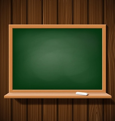 Blackboard with a chalk on a wooden wall vector image