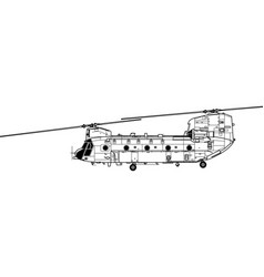 boeing ch-47 chinook vector image