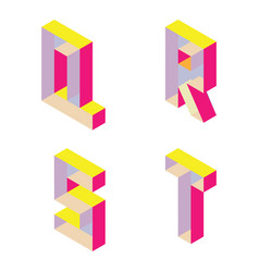 Bright isometric font with transparent parts vector