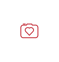 camera photograph with heart love icon vector image