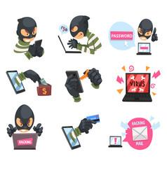 cartoon hackers at work set vector image