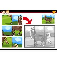 Cartoon horse jigsaw puzzle game vector