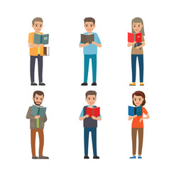 cartoon reading people male and female books vector image