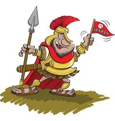Cartoon Spartan Holding a Spear vector image