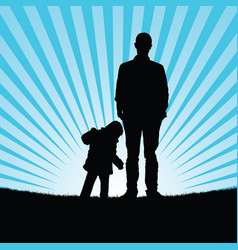 Child with man silhouette in nature vector