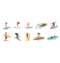 collection people in swimsuits doing activities vector image