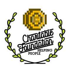 color vintage charitable foundation emblem vector image