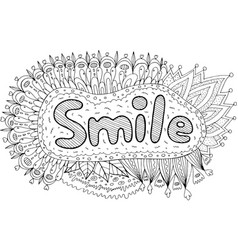 Coloring page for adults with mandala and smile vector